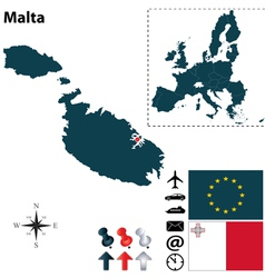 Malta and European Union map vector image vector image