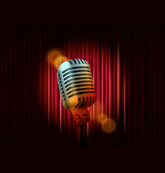 opening stage curtains with golden microphone vector image vector image
