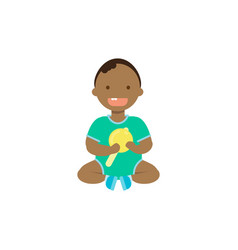 African baby boy with toy rattle full length vector