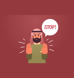 Angry arab man saying stop speech balloon with vector