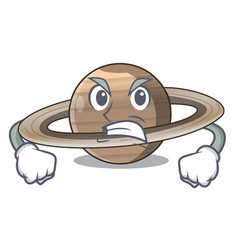 Angry planet saturn in the cartoon form vector