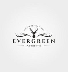Antlers deer logo vintage symbol design vector