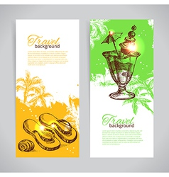 banner set travel colorful tropical banners vector image