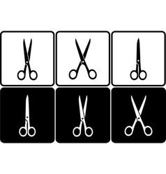 black and white scissors icons vector image