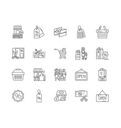 black friday line icons signs set vector image