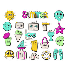 bright icons on the theme of beach holidays vector image
