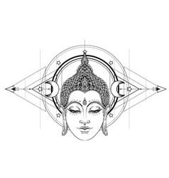 buddha face over ornate mandala round pattern vector image