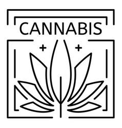 cannabis drug eco leaf logo outline style vector image