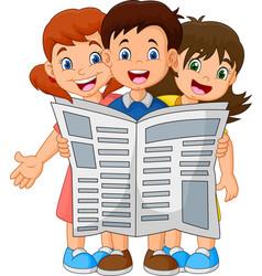 cartoon children reading a newspaper vector image