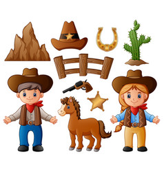 cartoon cowboy and cowgirl vector image