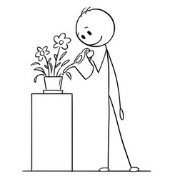 cartoon drawing of man watering plant in pot or vector image