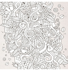Cartoon hand-drawn doodles coffee time vector