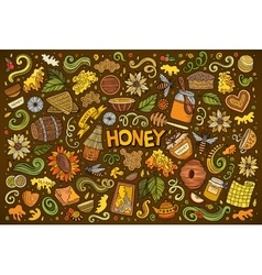 Cartoon set of Honey theme objects vector