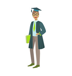 Cheerful graduate guy student in mantle with green vector