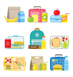 childrens school lunch box icon in flat style vector image
