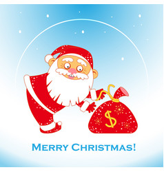 christmas santa claus with bag of money vector image