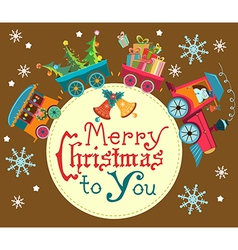 Christmas train vector image
