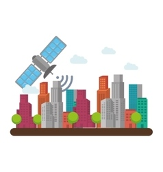Cityscape buildings skyline icon vector