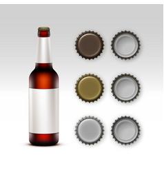 closed blank glass brown bottle dark red beer vector image