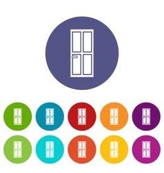 Closed wooden door set icons vector image