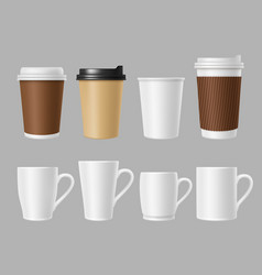 coffee mockup cups blank white and brown mugs vector image