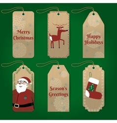 Collection of cute christmas gift tags with vector