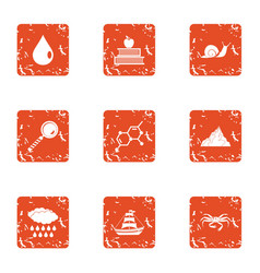 Composition of the sea icons set grunge style vector