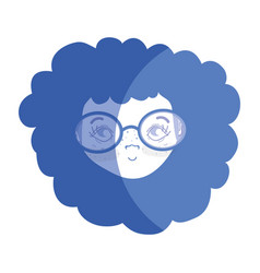 contour pretty girl face with haistyle and glasses vector image