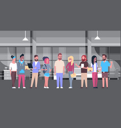 Coworking office casual people group working vector