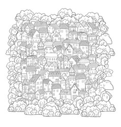 Cute cartoon town handdraw small vector