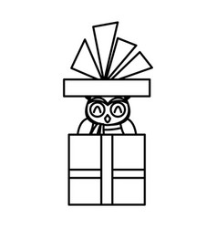 cute christmas owl in gift box with ribbon bow vector image