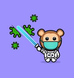 Cute monkey astronaut killing the virus vector