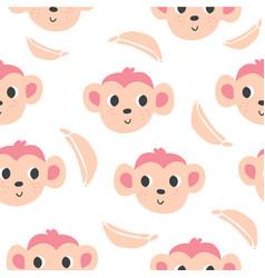 cute monkeys and bananas seamless pattern vector image