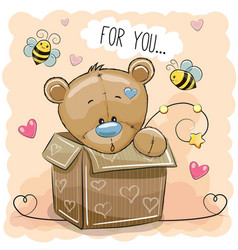 Cute teddy bear in a box vector