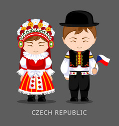 czechs in national dress with a flag vector image
