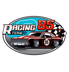 design racing car team badge vector image