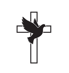 dove flying with a symbol religion cross vector image