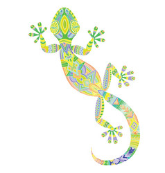 drawing lizard gecko with ethnic patterns vector image