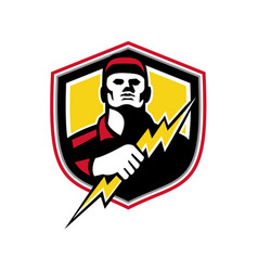 electrician thunderbolt crest mascot vector image