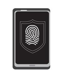 Fingerprints on a cellphone cyber security vector