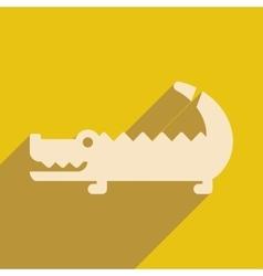 Flat icon with long shadow australian crocodile vector