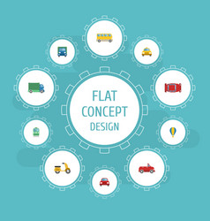 flat icons cab lorry automobile and other vector image