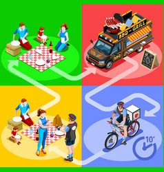 Food truck bbq grill home delivery isometric vector