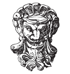 French mask vintage engraving vector