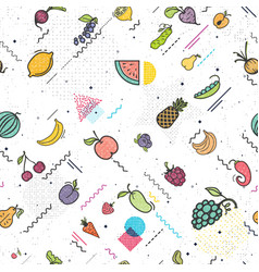 Fruits and vegetables seamless pattern memphis vector