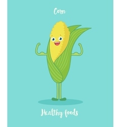 Funny corn with biceps vector