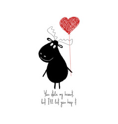 funny moose holding heart balloon vector image
