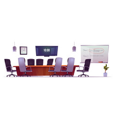 Furniture set for conference room in office vector