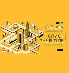 Future city infrastructure project web page vector