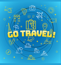Go travel concept different thin line icons vector